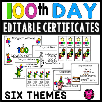 100th Day of School Certificates Editable and Book Markers by