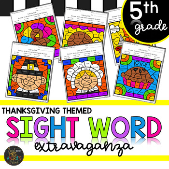 Fifth Grade Sight Words Color by Code Thanksgiving Activities for