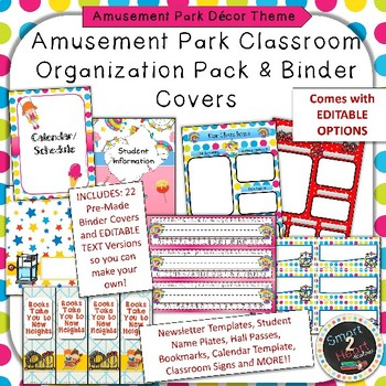 Amusement Park Binder Covers and Classroom Organization Pack TpT