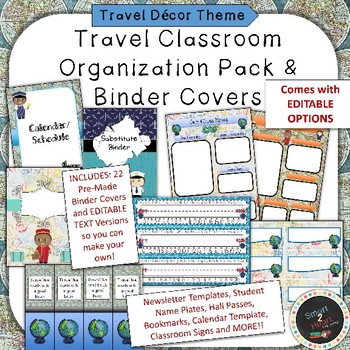 Travel Themed Binder Covers and Classroom Organization Pack TpT