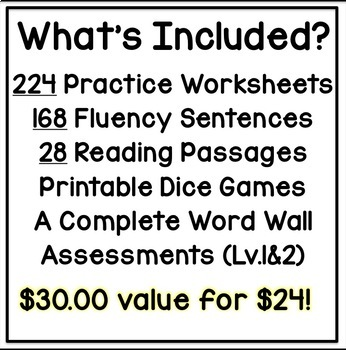 Special Education BUNDLE PCI Level 1 Sight Words - Worksheets, Games