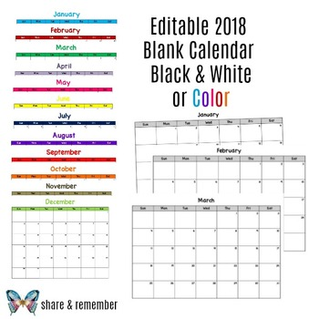 Editable} Blank 2018 Monthly Calendars by Share and Remember TpT