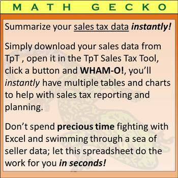 T05 - TpT Sales Tax Tool Instantly Sort and Summarize Tax Data!