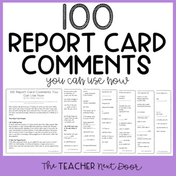 100 Report Card Comments You Can Use Now Freebie by The Teacher Next