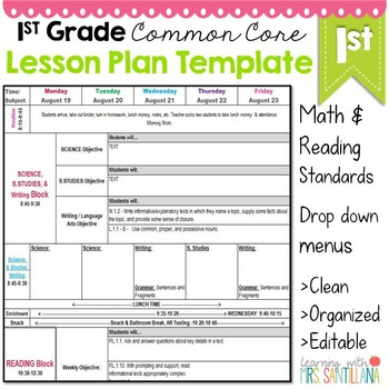 1st Grade Common Core Lesson Plan Template by Math Tech Connections - lesson plan outline