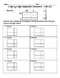 2-digit by 2-digit multiplication homework - area model by ...