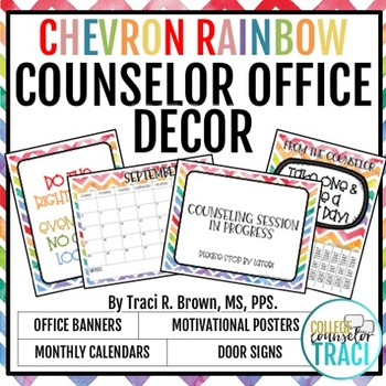 2018 - 2019 School Counselor Office Decor (Chevron Rainbow) TpT