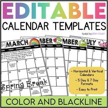 2018-2019 Editable Calendar Templates (Color AND Blackline) TpT