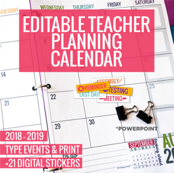 Editable 2018 Planning Calendar Teaching Resources Teachers Pay - teachers planning calendar