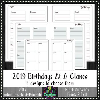 2019 BIRTHDAYS Yearly At A Glance Planner Insert or Teacher Binder Page