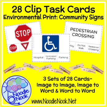 28 Clip Task Cards for Community Signs for Autism or Early Elem by