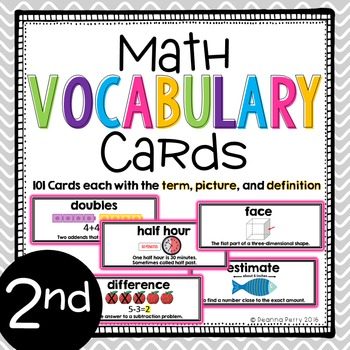 2nd Grade Common Core Math Vocabulary Cards with Definitions