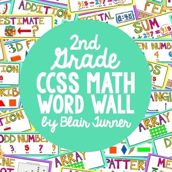 2nd Grade Common Core Math Vocabulary - WORD WALL by Blair Turner