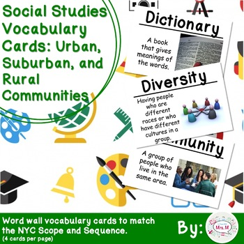 2nd Grade Social Studies Vocab Cards Urban, Suburban, and Rural - vocab cards