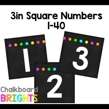 3 inch Square Number Labels {Chalkboard Brights} by Ellen Ifft TpT