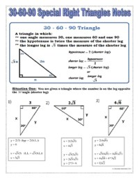 Right Triangles - 30 60 90 Special Right Triangles Notes ...