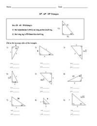 30-60-90-Triangles Worksheet by Family 2 Family Learning ...