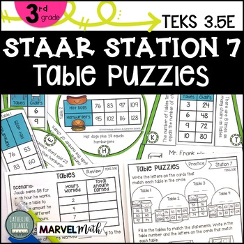 3rd Grade STAAR STATION 7 TABLE PUZZLES ~ TEKS 35E Math
