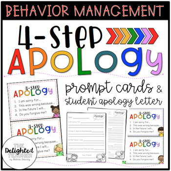 4-Step Apology Prompt Cards  Student Apology Letter by The