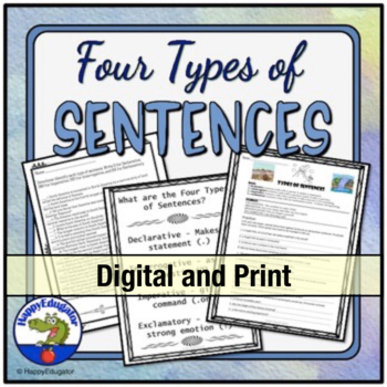 Four Types Of Sentences Worksheets Teaching Resources Teachers Pay