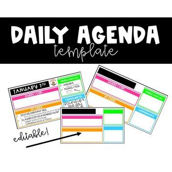 Daily Agenda Template by Hey Hey Ms KK Teachers Pay Teachers