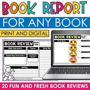 DIGITAL Book Report Template Google Classroom Book Review for ANY BOOK - book reviews template