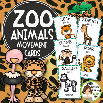 Zoo Animals Movement Cards (22 cards) by Little Sprouts Learning