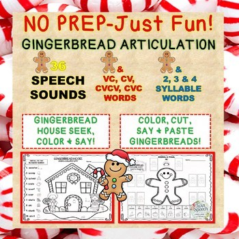 No Prep-Just Fun! Gingerbread Articulation 36 Sounds + CV to 4