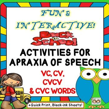 NO PREP Back To School Apraxia Unit VC, CV, CVCV  CVC WORDS TpT