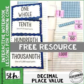 5th Grade Math Interactive Notebook NBT Decimal Place Value 5NBT