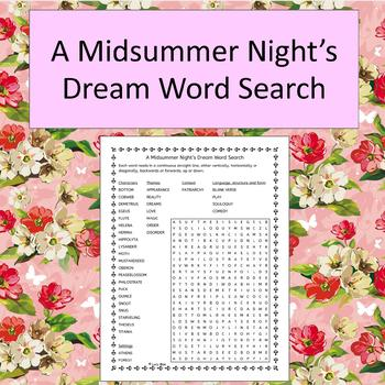 A Midsummer Night\u0027s Dream Word Search - No Prep - black and white by