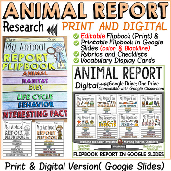 ANIMAL REPORT EDITABLE TEMPLATES by Teach To Tell TpT