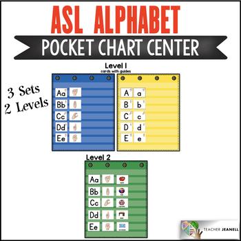 ASL American Sign Language Alphabet Pocket Chart Center by Teacher