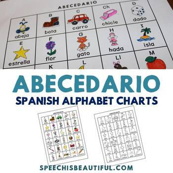 Abecedario - Spanish Alphabet Charts in Color and Black and White by