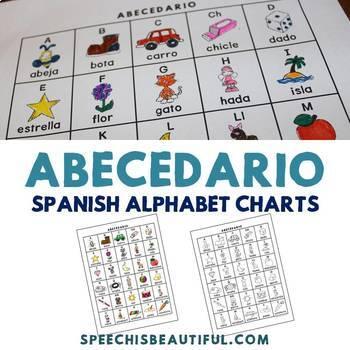 Abecedario - Spanish Alphabet Charts in Color and Black and White by - spanish alphabet chart