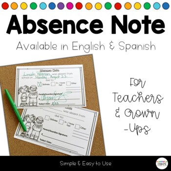 Absence Excuse Note by Kindergarten Chaos Teachers Pay Teachers