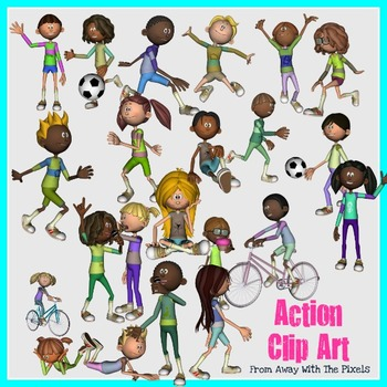 Action Verbs Clip Art for Teachers - Now With Blacklines! by