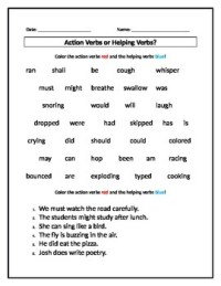 Action Verbs or Helping Verbs? Worksheet by Stephanie's ...