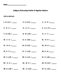 Adding and Subtracting Positive and Negative Numbers ...