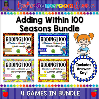 Adding within 100 Seasons Powerpoint Game Bundle by Teacher Gameroom