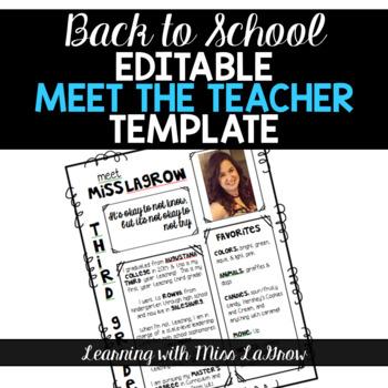 All About Me / Meet the Teacher Editable Template Sheet TpT