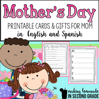 Mother\u0027s Day Activities in English and Spanish TpT