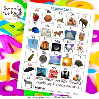 Alphabet Card A-Z with photos by Smart Fish Teachers Pay Teachers