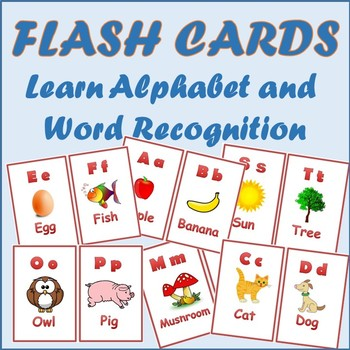 Alphabet Flashcards Words Recognition PreK, Kindergarten by