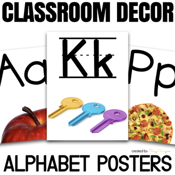 Alphabet Posters Classroom Decor / Flashcards by CrazyCharizma TpT