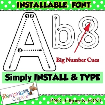 Alphabet tracing letters font (INSTALLABLE), correct letter formation