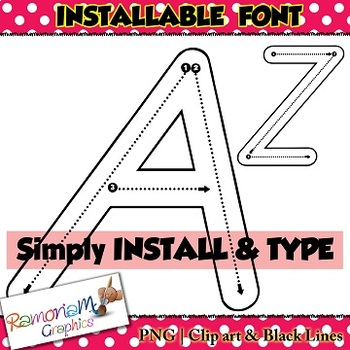 Alphabet tracing letters font (D\u0027Nealian), correct letter formation fonts