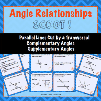 Parallel Lines and Angle Relationships Task Cards (Scoot!) TpT