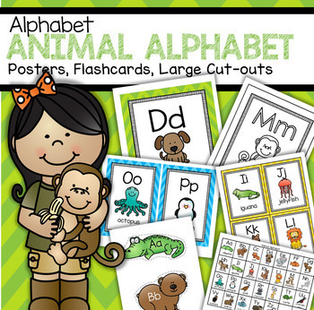 Alphabet Animals Posters, Flash Cards, Game Cards, Large Cut-outs