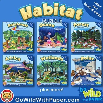 Animal Habitat Diorama Project BUNDLE Animal Craft Activities TpT